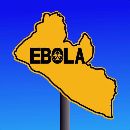 pandemic: Danger Ebola biohazard Liberia map sign on blue illustration Stock Photo