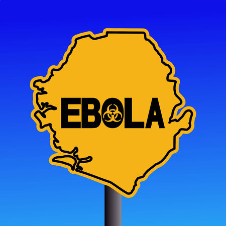 contagious: Danger Ebola biohazard Sierra Leone map sign on blue illustration