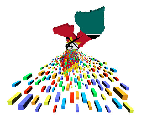 Mozambique: Mozambique map flag with containers illustration