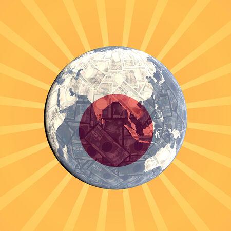 japanese currency: Japanese currency flag globe with sunburst illustration Stock Photo