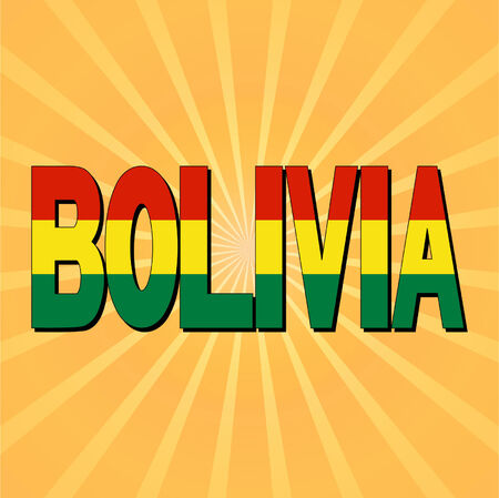 bandera de bolivia: Bolivia bandera texto con la ilustraci�n del vector del resplandor solar
