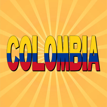 Colombia flag text with sunburst vector illustration Vector