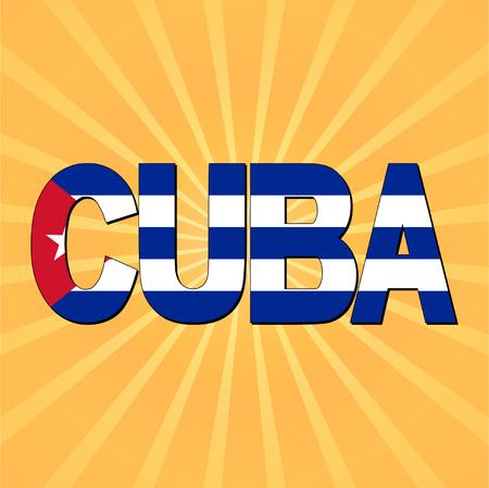 cuban flag: Cuba flag text with sunburst vector illustration