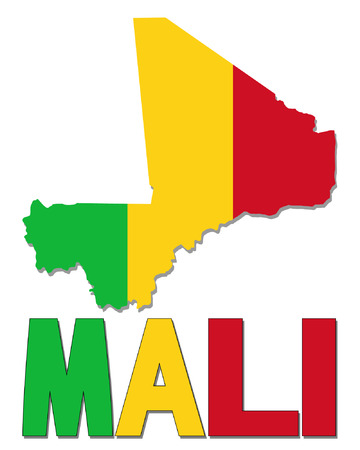 realm: Mali map flag and text vector illustration