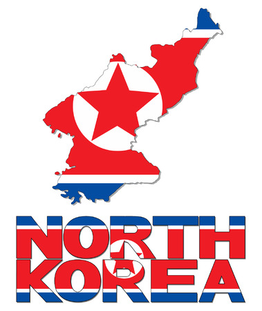 North Korea map flag and text vector illustration Vector