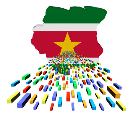 suriname: Suriname map flag with containers illustration