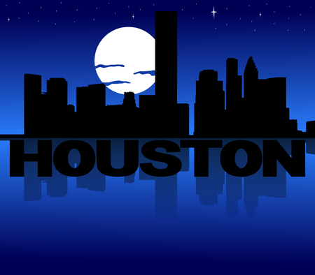 houston: Houston skyline reflected with text and moon illustration