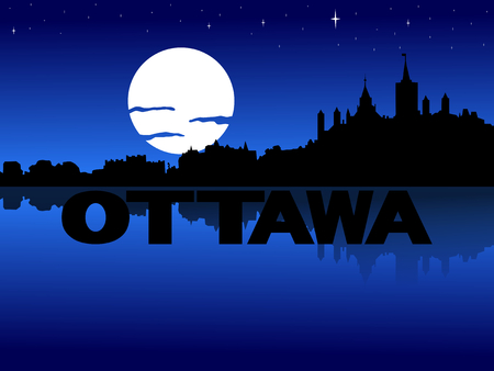 ottawa: Ottawa skyline reflected with text and moon illustration