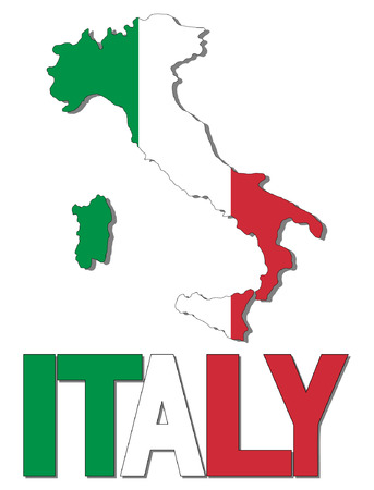 Italy map flag and text vector illustration