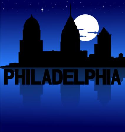 philadelphia: Philadelphia skyline reflected with text and moon vector illustration Illustration