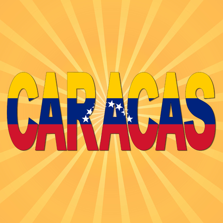 caracas: Caracas flag text with sunburst illustration Stock Photo