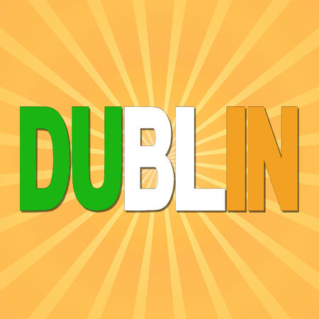 irish cities: Dublin flag text with sunburst illustration