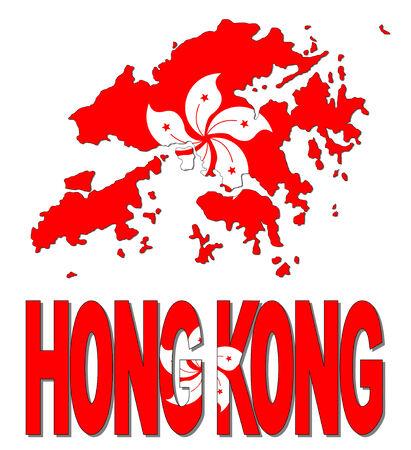 Hong Kong map flag and text illustration illustration