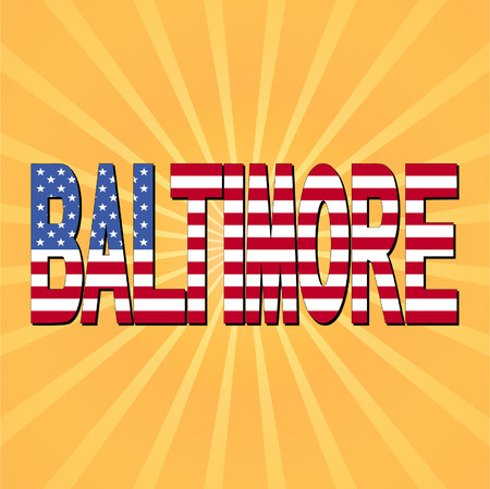 baltimore: Baltimore flag text with sunburst vector illustration Illustration