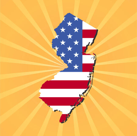 New Jersey map flag on yellow sunburst illustration Illustration