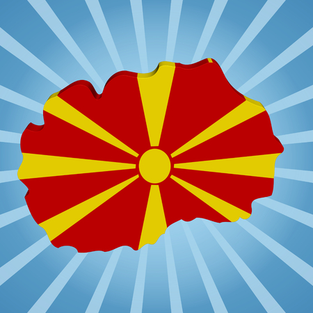 macedonia: Macedonia map flag on blue sunburst illustration