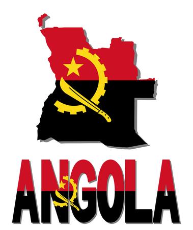 angola: Angola map flag and text illustration Stock Photo
