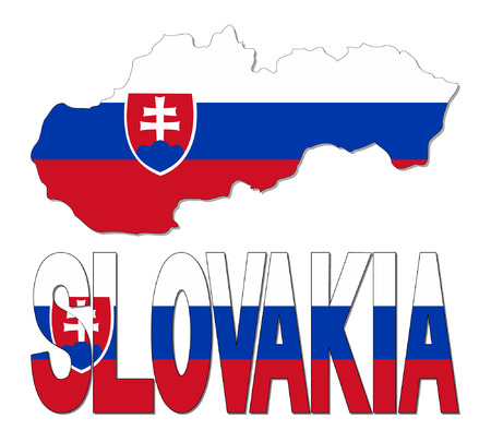 realm: Slovakia map flag and text vector illustration Illustration