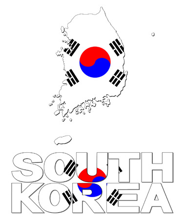 South Korea map flag and text vector illustration Vector