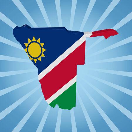 namibia: Namibia map flag on blue sunburst illustration Stock Photo