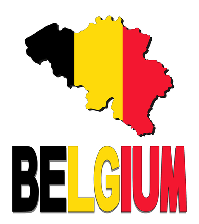Belgium map flag and text illustration illustration