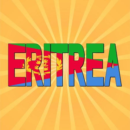 eritrea: Eritrea flag text with sunburst Illustration