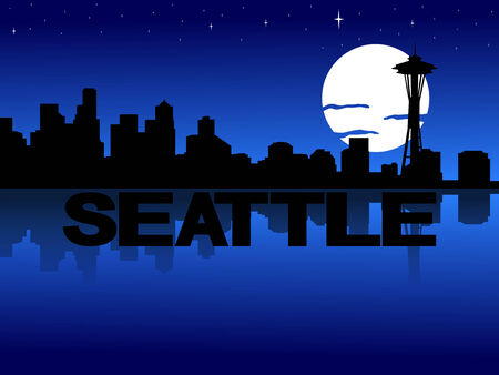 seattle skyline: Seattle skyline reflected with text and moon illustration Stock Photo