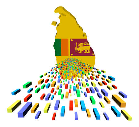 Sri Lanka map flag with containers illustration illustration