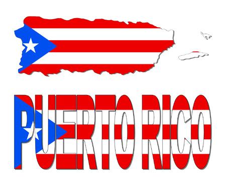 rican: Puerto Rico mapa de la bandera y de la ilustraci�n de texto