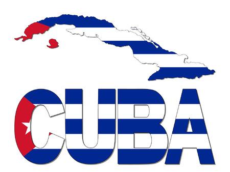 cuban flag: Cuba map flag and text vector illustration