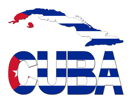 Cuba map flag and text vector illustration