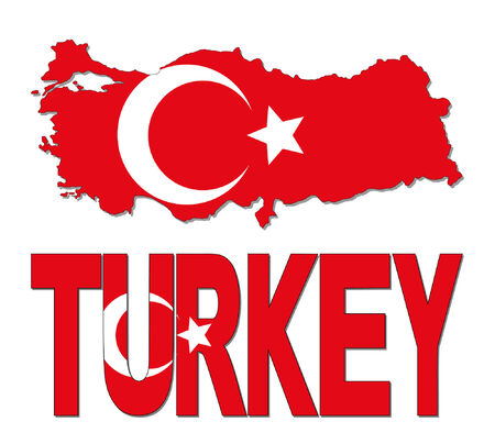 realm: Turkey map flag and text illustration Illustration