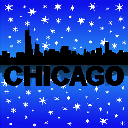 iciness: Chicago skyline reflected with snow vector illustration