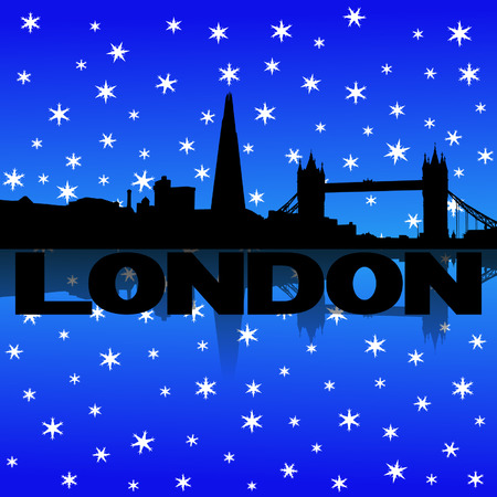 iciness: London skyline reflected with snow vector illustration