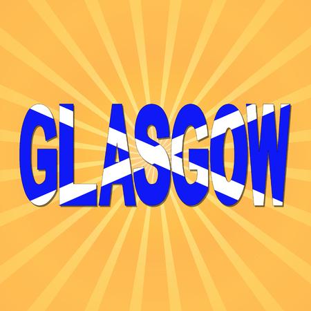 glasgow: Glasgow flag text with sunburst illustration Stock Photo