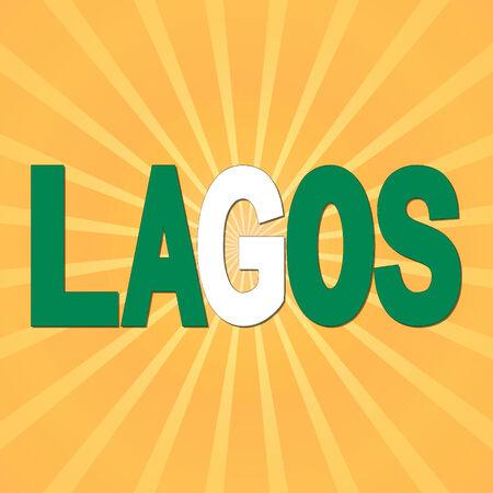 lagos: Lagos flag text with sunburst illustration