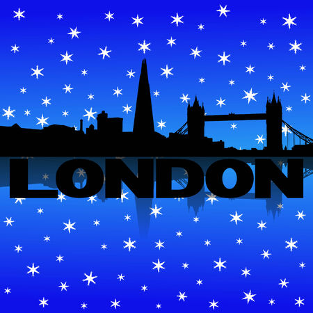 iciness: London skyline reflected with snow illustration