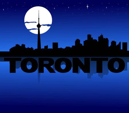 toronto: Toronto skyline reflected with text and moon illustration Stock Photo