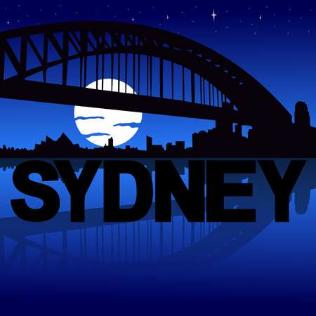 Sydney skyline reflected with text and moon illustration illustration