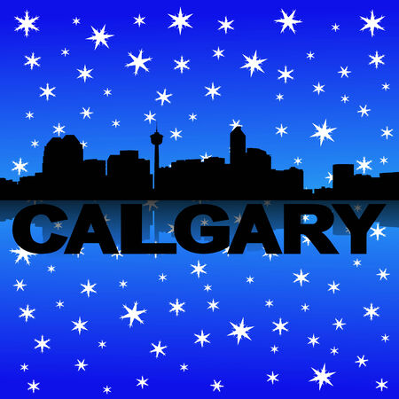 Calgary skyline reflected with snow illustration illustration