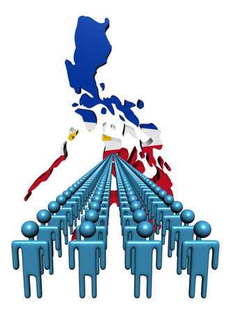 philippines  map: Lines of people with Philippines map flag illustration