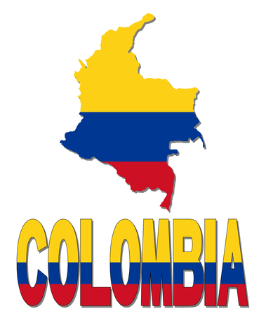 Colombia map flag and text illustration illustration
