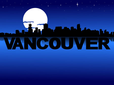 vancouver city: Vancouver skyline reflected with text and moon illustration Stock Photo