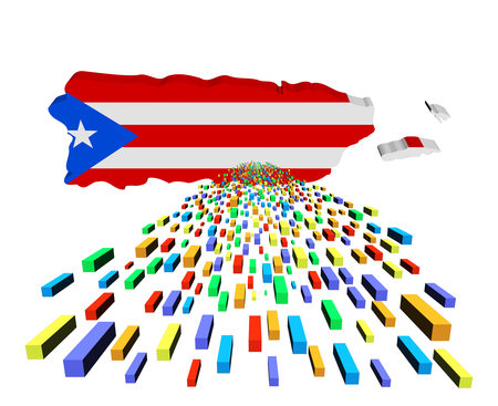 Puerto Rico map flag with containers illustration illustration