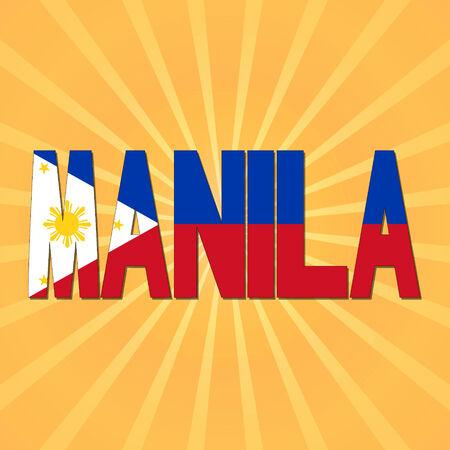 manila: Manila in philippines flag text with sunburst illustration Stock Photo