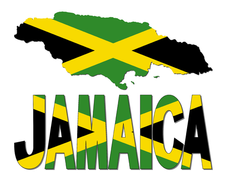 Jamaica map flag and text illustration