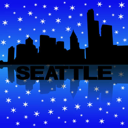 Seattle skyline reflected with snow illustration