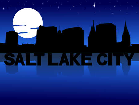 salt lake city: Salt Lake City skyline reflected with text and moon illustration