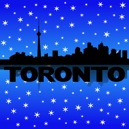 Toronto skyline reflected with snow illustration illustration