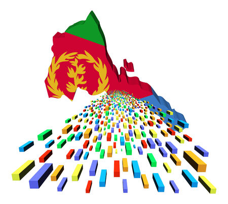 eritrea: Eritrea map flag with containers illustration Stock Photo